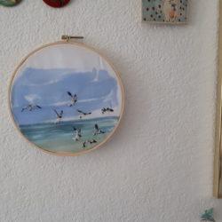 Broderie et aquarelle.Voyage V